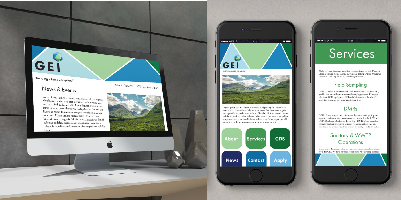 GEI Website and app mockup