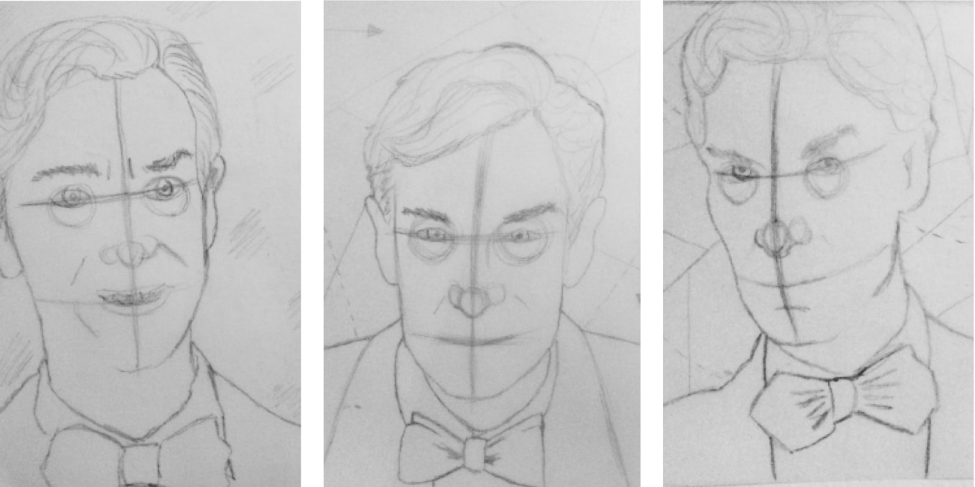 Pencil sketches of Bill Nye