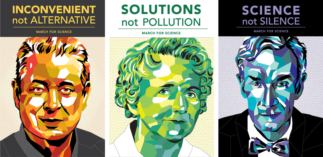 Final posters of Al Gore, Rachel Carson, and Bill Nye